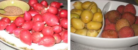 radishes + lychees + dates