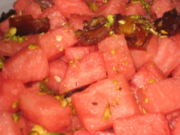 watermelon salad - close up